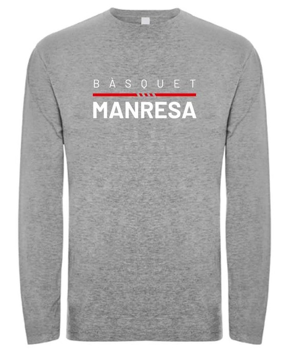 Bàsquet Manresa grey long sleeves tee Adult Size: S