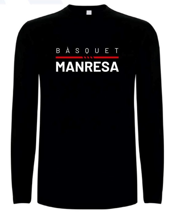 Bàsquet Manresa black kids long sleeves tee Kids Size: 4