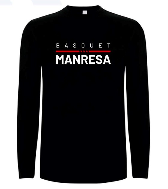 Bàsquet Manresa black long sleeves tee Adult Size: S
